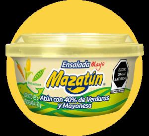 Latita con tapadera y cucharita con verduras y mayonesa